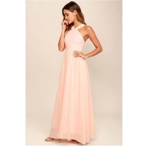 LULU'S Air of Romance Peach Maxi Dress